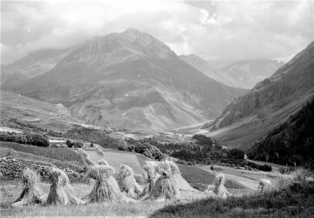 photo noir et blanc paysage montagne agriculture